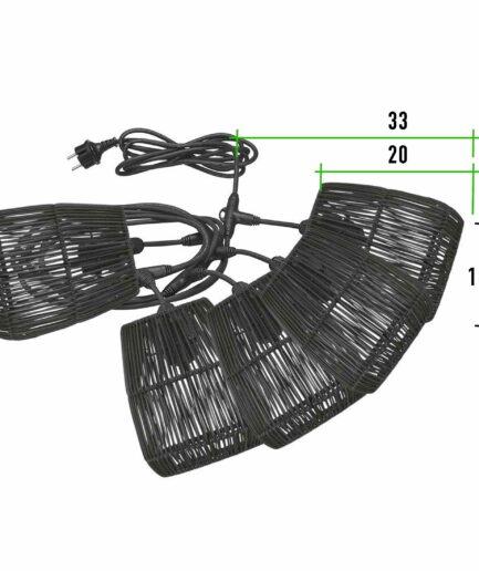 Outdoor Lichterkette mit 5 schwarzen Lampenschirmen aus Rattan ♥ Beleuchtung für Terrasse & Balkon mit 5 Lampen ♥ Soulbirdee Onlineshop