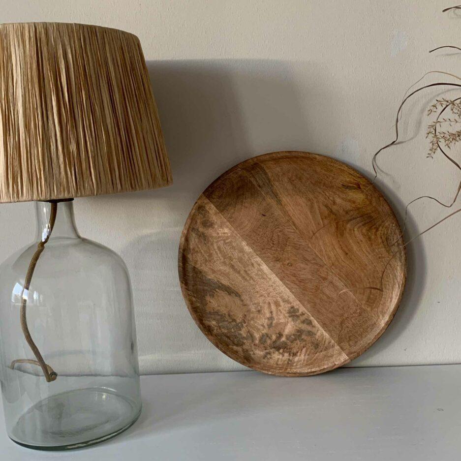 Runder Holzteller aus Mango-Holz. Handgemachter Holz-Teller zum dekorieren / servieren. Holzschale Online kaufen, Holzstablett Dekorieren