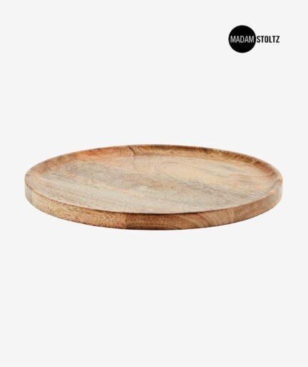 Rundes Holztablett aus Mango-Holz. Handgemachter Holz-Teller zum dekorieren / servieren. Holzschale Online kaufen, Holzstablett Dekorieren