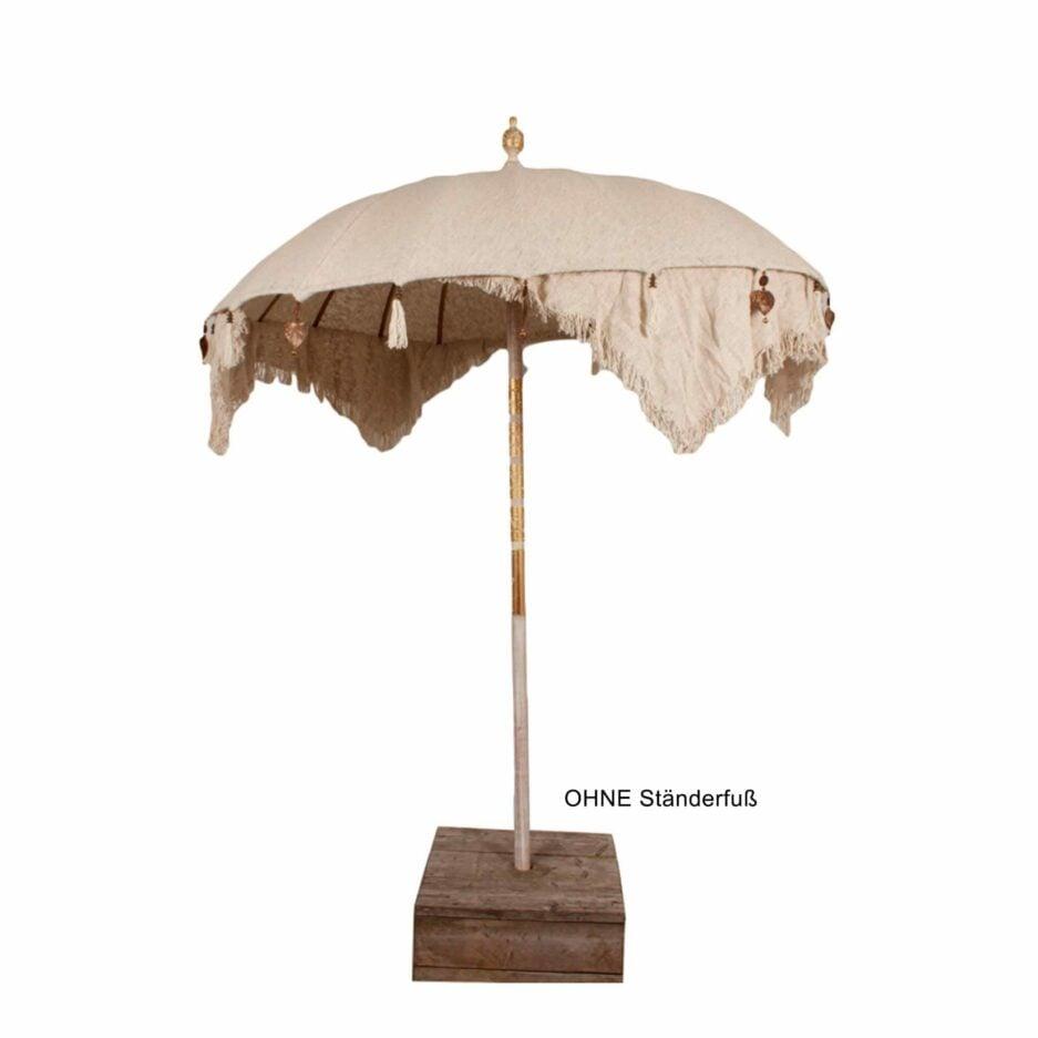 Bali Beach Sonnenschirm mit Schirm in Beige und Stange aus Teak-Holz ♥ Boho Wohndeko kaufen bei Soulbirdee Onlineshop