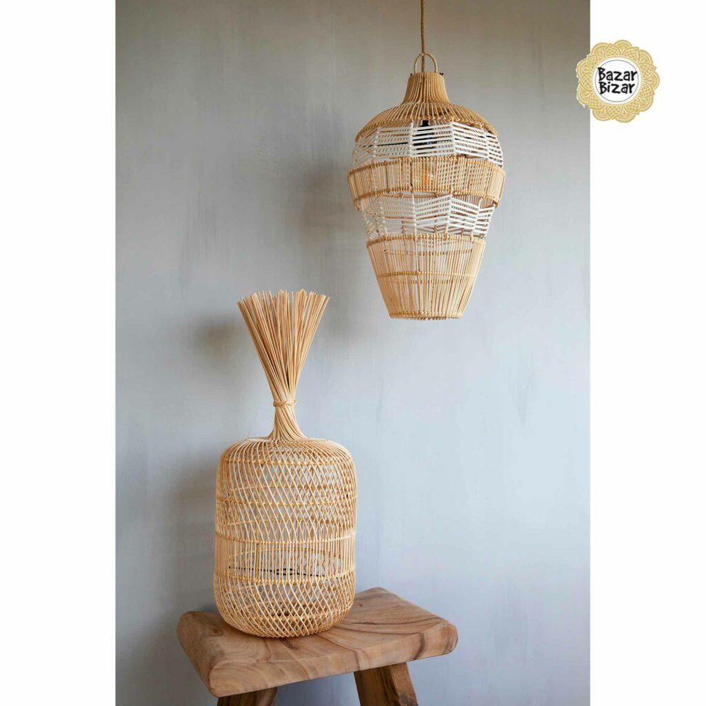 Haengelampe Vasenlampe aus Rattan ♥ Bazar Bizar Rattanlampe ♥ Hängelampe kaufen im Bohemian Design ♥ Bazar Bizar bei Soulbirdee Onlineshop