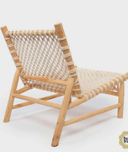 Einsitzer Sessel Bazar Bizar -The Island Rope One Seater - Natural White aus Teak-Holz. Weißer Sessel aus Holz von Bazar Bizar ♥ Boho Stuhl online kaufen bei Soulbirdee