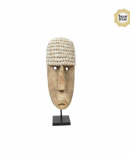 THE COWRIE Maske L | Statue von Bazar Bizar ♥ Ethno Deko Figur aus Bali, Holzfigur ♥ Boho Style Deko online kaufen im Soulbirdee Onlineshop
