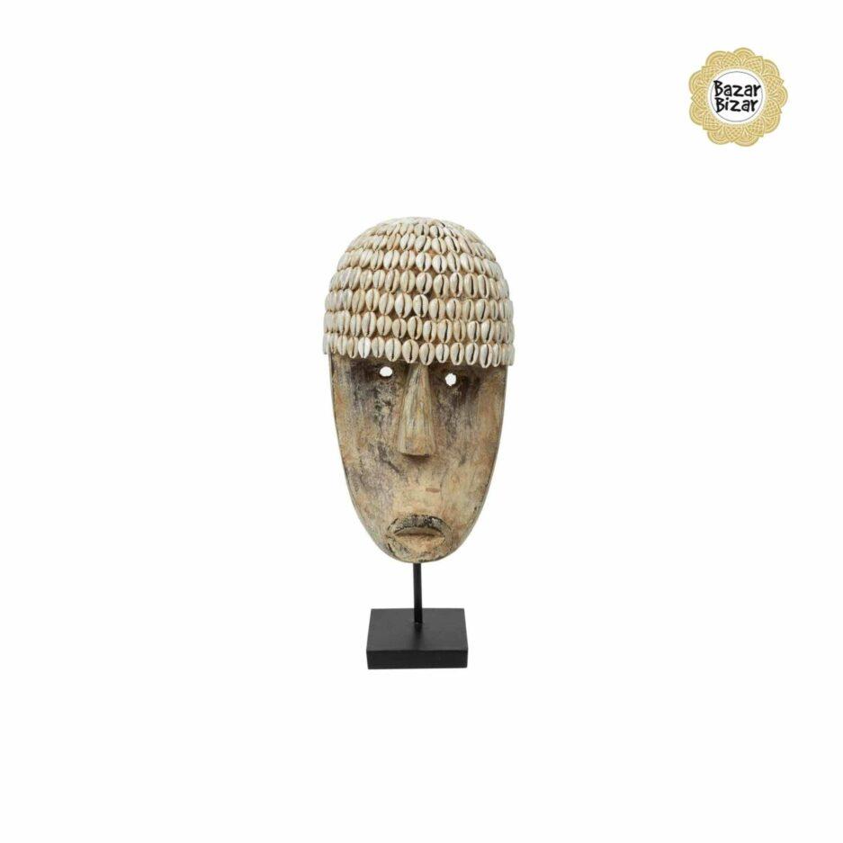 THE COWRIE Maske M   Statue von Bazar Bizar ♥ Tribal Deko Figur aus Bali, Holzfigur ♥ Boho Style Deko online kaufen im Soulbirdee Onlineshop
