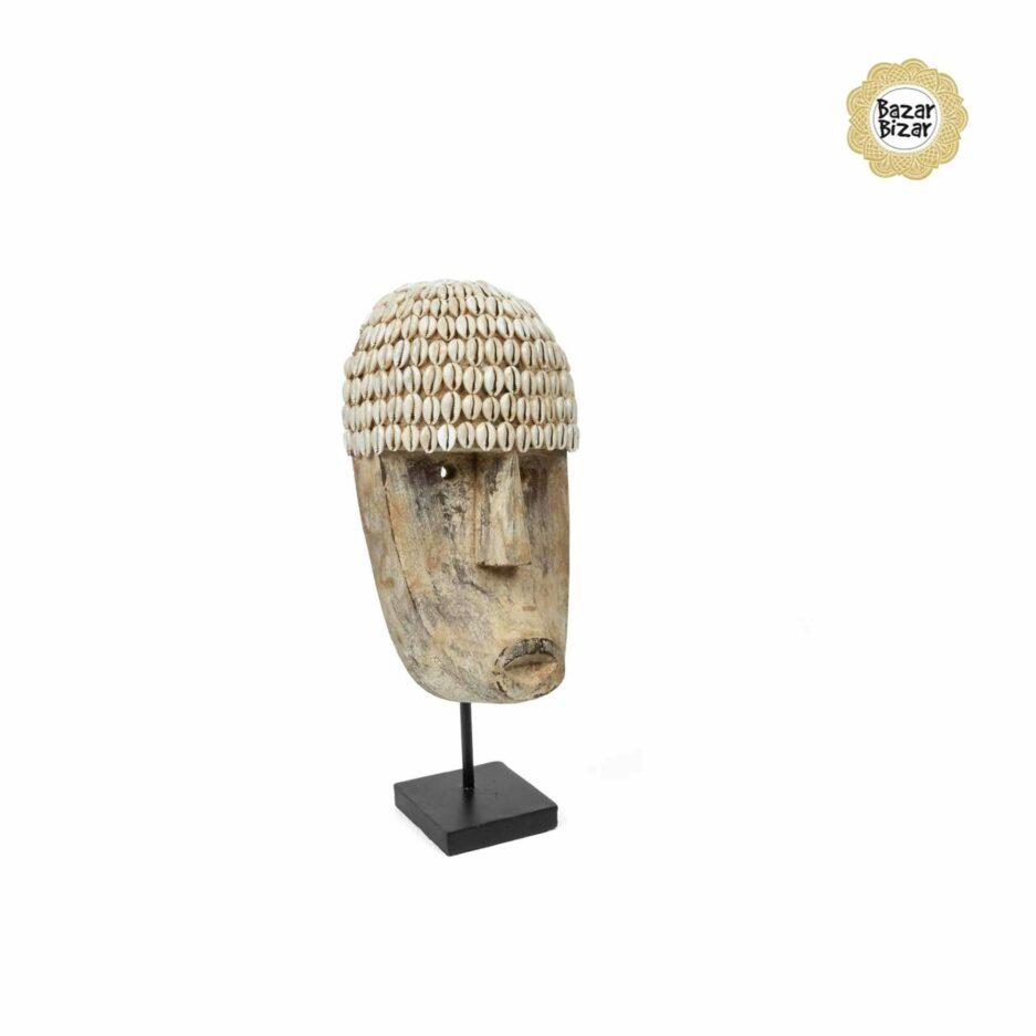 COWRIE Holzmaske M   Statue von Bazar Bizar ♥ Tribal Deko Figur aus Bali, Holzfigur ♥ Boho Style Deko online kaufen im Soulbirdee Onlineshop