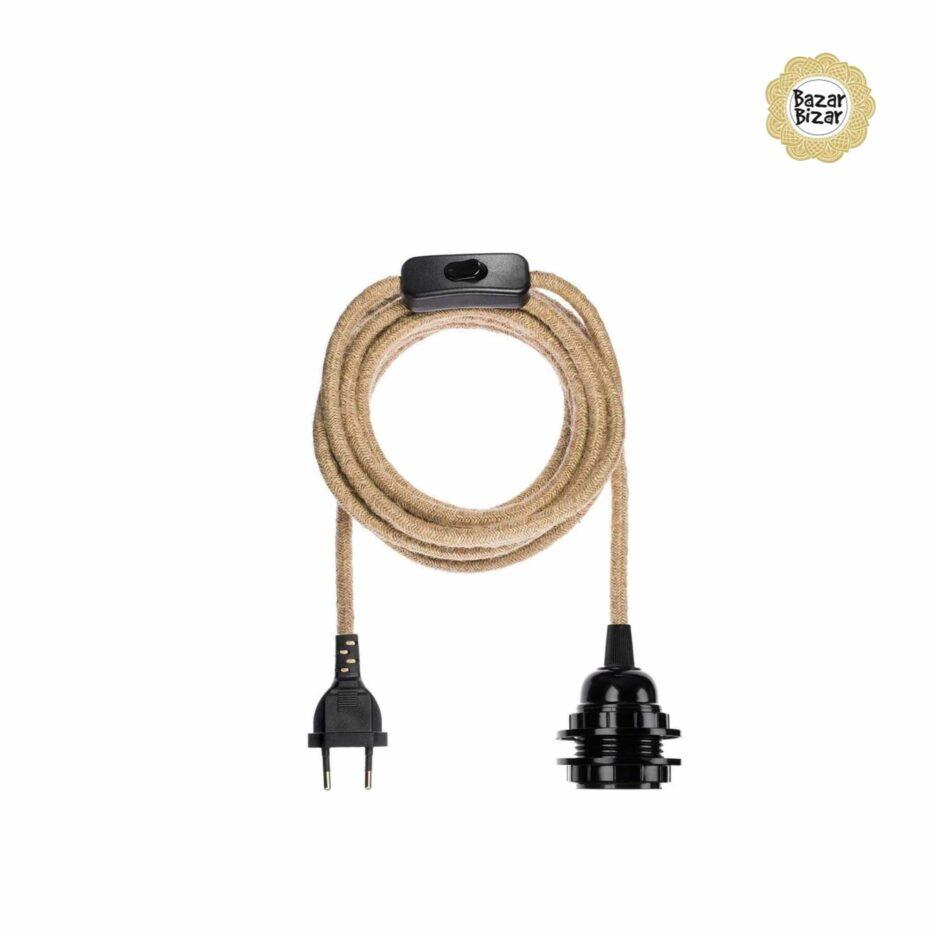 Elektrik aus Seil in braun für Lampen der Marke Bazar Bizar ♥ Lampenfassung von Bazar Bizar Zubehör ♥ Lampen online kaufen im Soulbirdee Onlineshop
