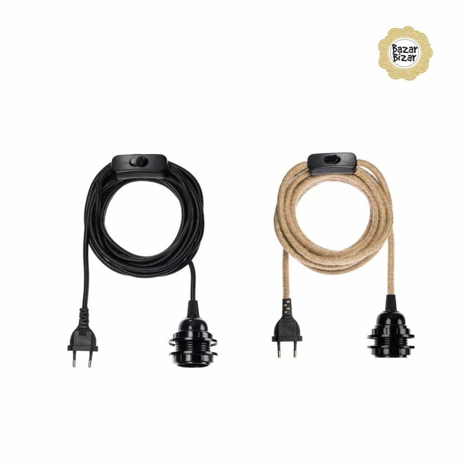 Elektrik aus Seil für Lampen der Marke Bazar Bizar ♥ Lampenfassung für E27 Glühbirnen ♥ Lampen online kaufen im Soulbirdee Onlineshop