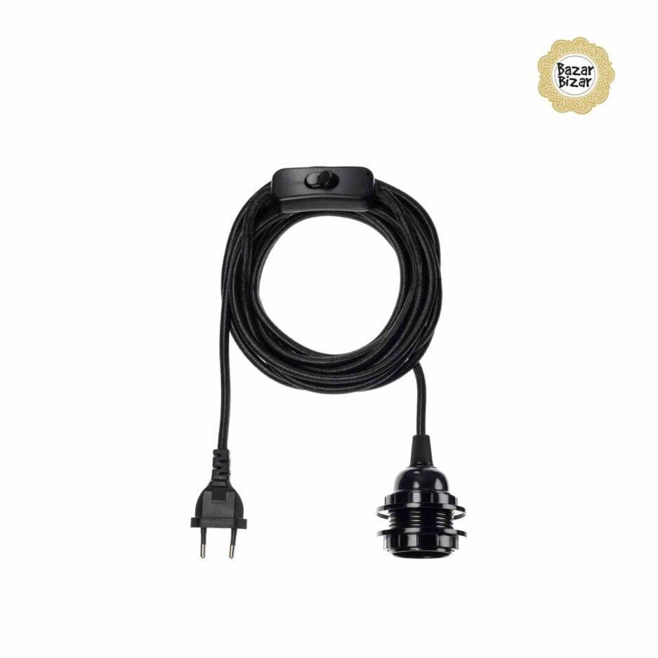 Schwarze Elektrik aus Seil für Lampen der Marke Bazar Bizar ♥ Lampenfassung von Bazar Bizar Zubehör ♥ Lampen online kaufen im Soulbirdee Onlineshop