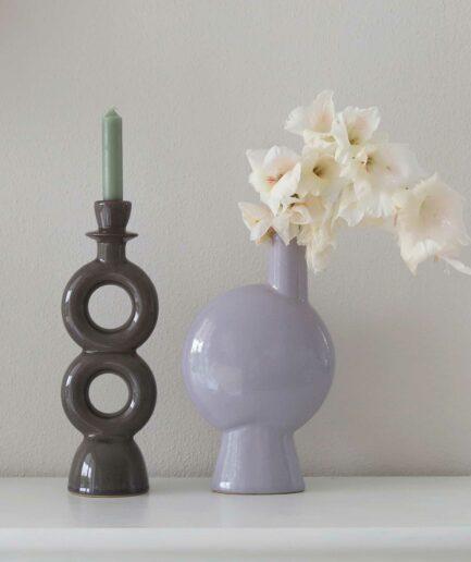 Kerzenhalter und Vase aus Steinzeug