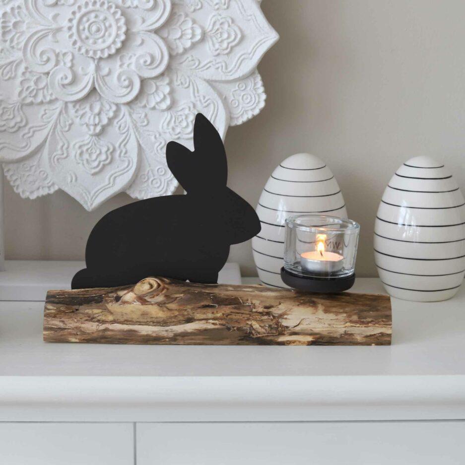 Kerzenhalter Hase ist unser Osterhase auf einem Ast mit hochwertigem Glas für ein Teelicht ♥ Osterhase & Osterdeko online kaufen | Soulbirdee