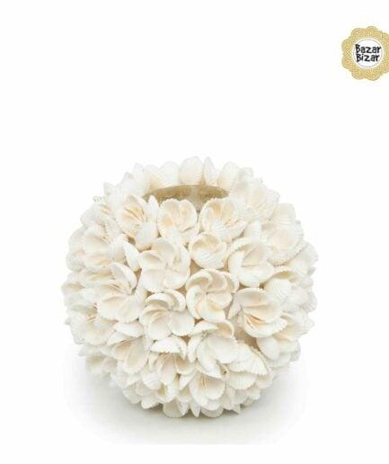 FLOWER POWER Teelichthalter aus weißen Muscheln von Bazar Bizar ♥ Boho Deko aus Bali ♥ Boho Style Deko online kaufen im Soulbirdee Onlineshop