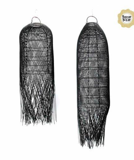 The Squid Pendant Black in 2 Größen aus Allang Allang Gras von der Trendmarke Bazar Bizar. Lampen im Bohemian Design von Bazar Bizar kaufen