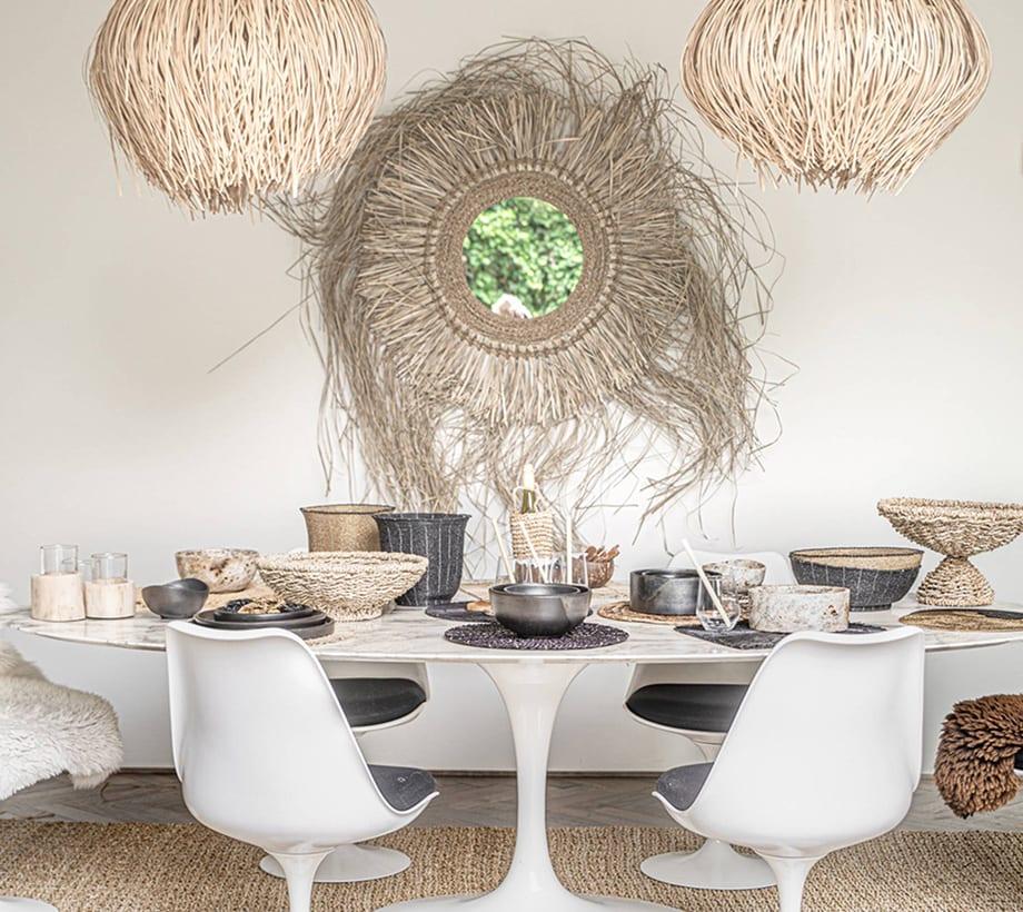 Strandhaus Stil Spiegel als Wanddeko, Spiegel aus Seegras, von Bazar Bizar für Soulbirdee Onlineshop