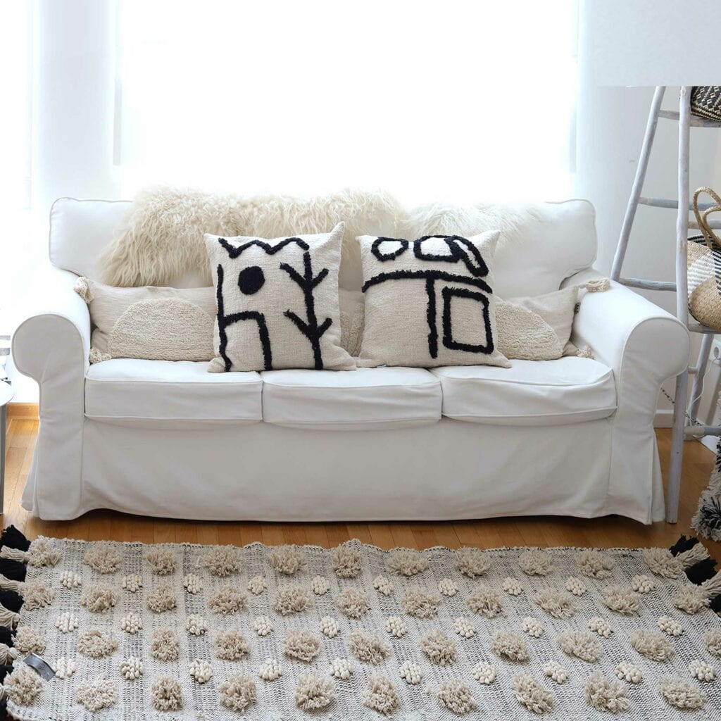 Teppich im Boho Wohnstil mit Fransen 70 x 200cm von der Marke Au Maison ♥ Läufer Boho Teppich in cremeweiß bei Soulbirdee online kaufen