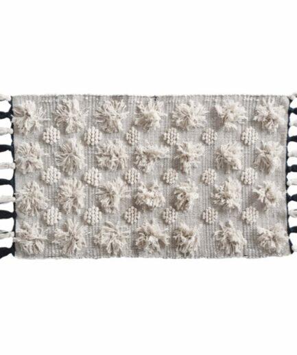Teppich im Bohemian Wohnstil mit Fransen 70 x 200cm von der Marke Au Maison ♥ Läufer Boho Teppich in cremeweiß bei Soulbirdee online kaufen