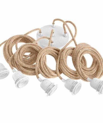 Lampenfassung mit 5 Kabel mit braunem Textilkabel und weißer Fassung von der Marke Bazar Bizar. Jetzt -15 % reduziert bei Soulbirdee kaufen
