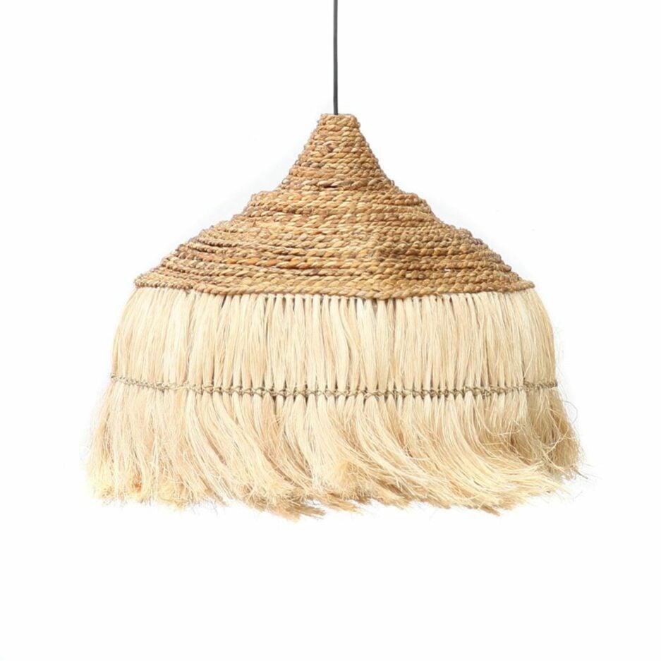 """Hängelampe aus Gras """"Abaca Hoola"""" in Braun von der Marke Bazar Bizar. Lampen im Boho Stil -15% bei Soulbirdee kaufen"""