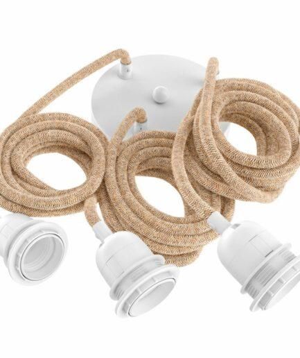 Lampenfassung mit 3 Kabel in Weiß / Braun von der Marke Bazar Bizar. Fassung für Hängelampen mit 3 Anschlüssen reduziert kaufen