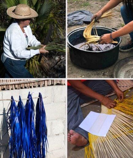 Herstellung der Pflanzenampeln aus geflochtenem Palmblatt