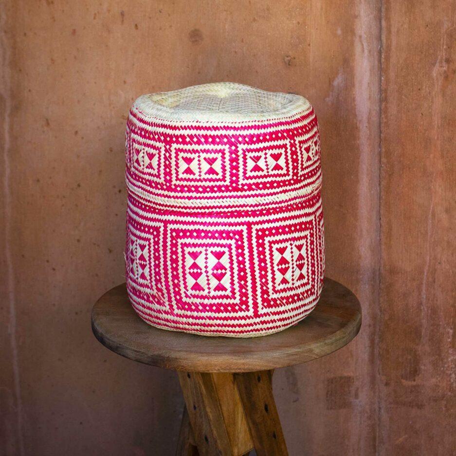 Pink Mexikanischer Korb für die Aufbewahrung und als Dekoration im Ethno Style | Boho Dekoration aus Palmfaser ♥ aus Mexiko ♥ Boho Dekoration online kaufen ♥ Soulbirdee Onlineshop
