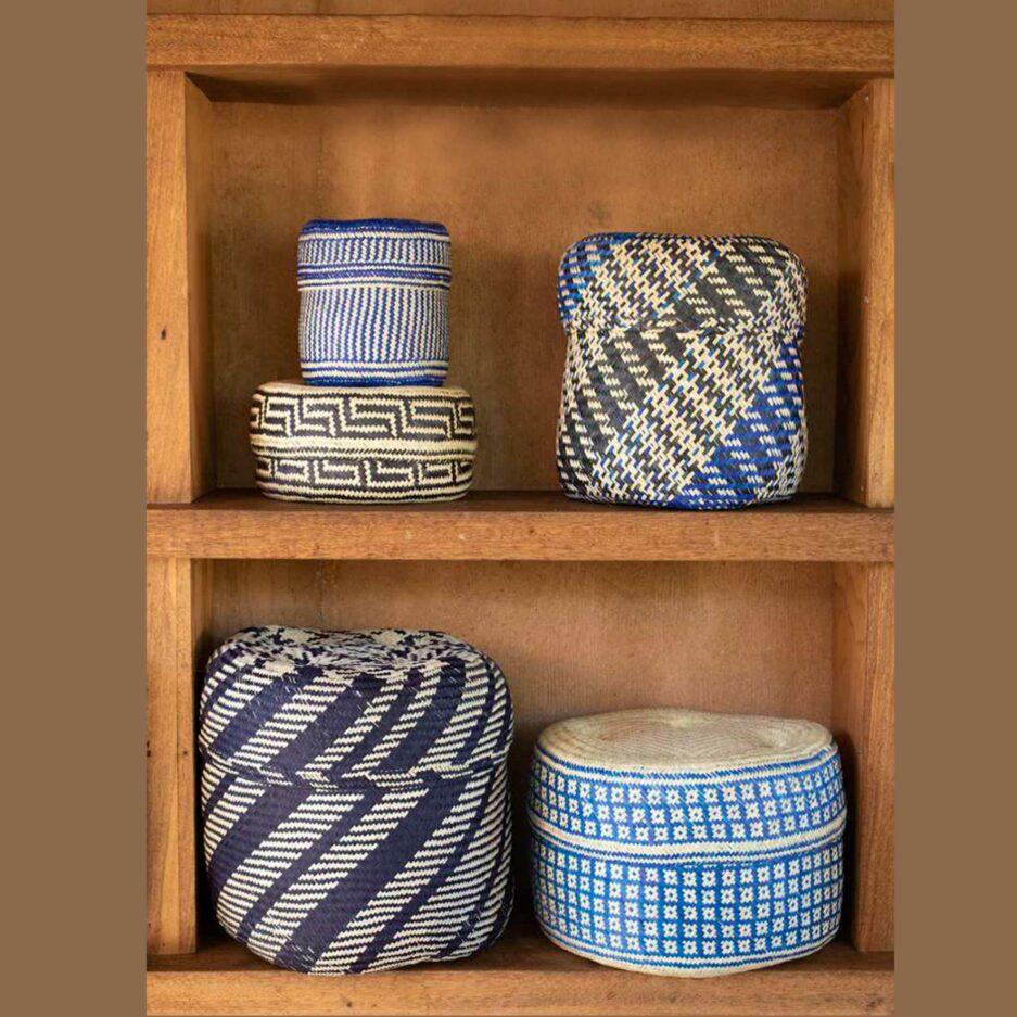 Tenates de Palma in Blau ♥ Hand geflochtene Körbe aus Mexiko in fröhlichen Farben ♥ Ethno Deko | Dekoration im Ethno Style ♥ Soulbirdee
