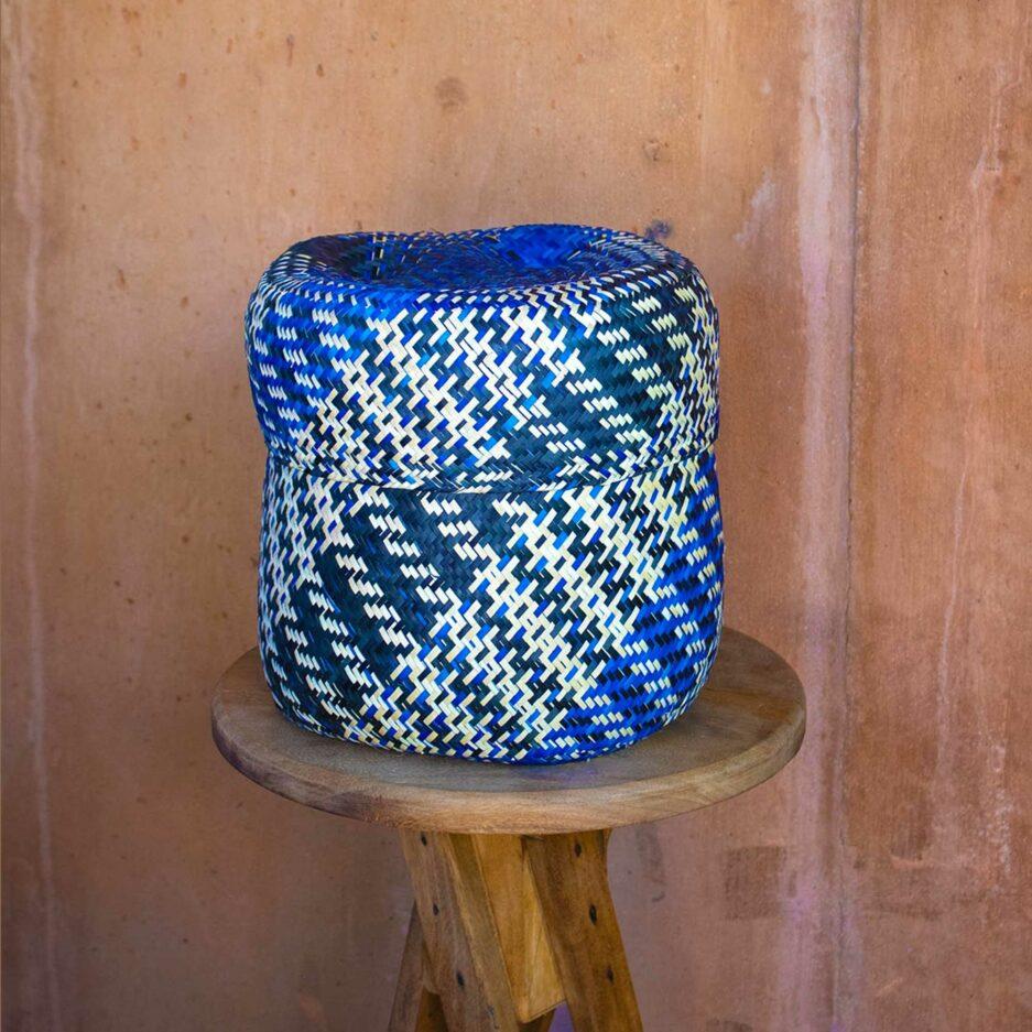 Blauer Korb aus Mexiko ♥ Hand geflochtene Körbe aus Mexiko in fröhlichen Farben ♥ Ethno Deko | Dekoration im Ethno Style ♥ Soulbirdee