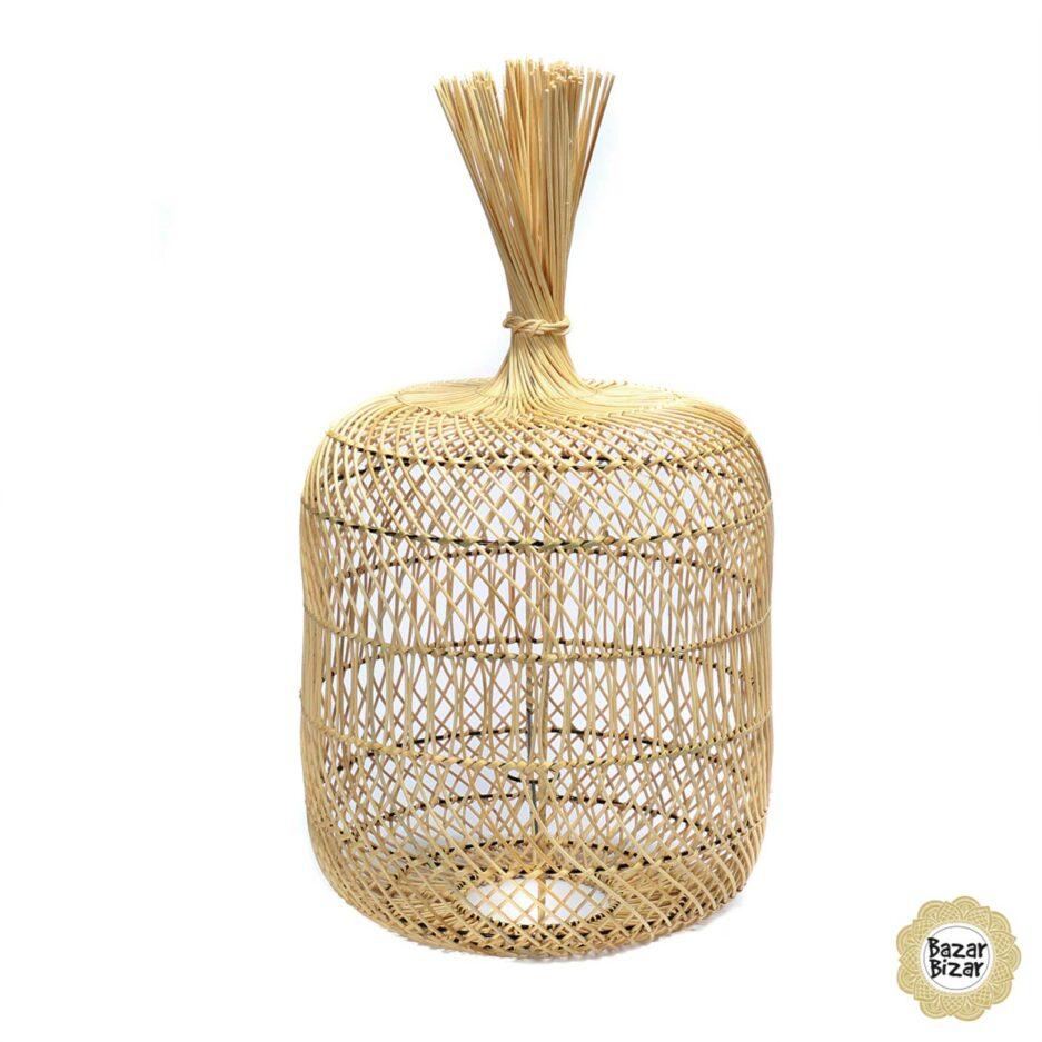 Balinesischer Lampenschirm aus Rattan | Dumpling Lampe Bazar Bizar Lampen im Boho Stil als Dekoration oder Hängelampe oder Stehlampe im Soulbirdee Onlineshop
