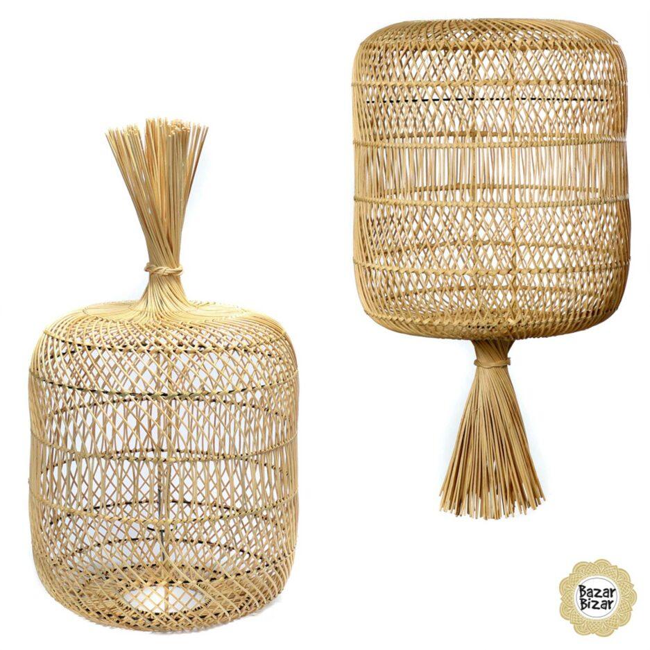 Lampenschirm für Hängelampe im Boho Style aus Rattan | Dumpling Lampe Bazar Bizar Lampen im Boho Stil als Dekoration oder Hängelampe oder Stehlampe im Soulbirdee Onlineshop