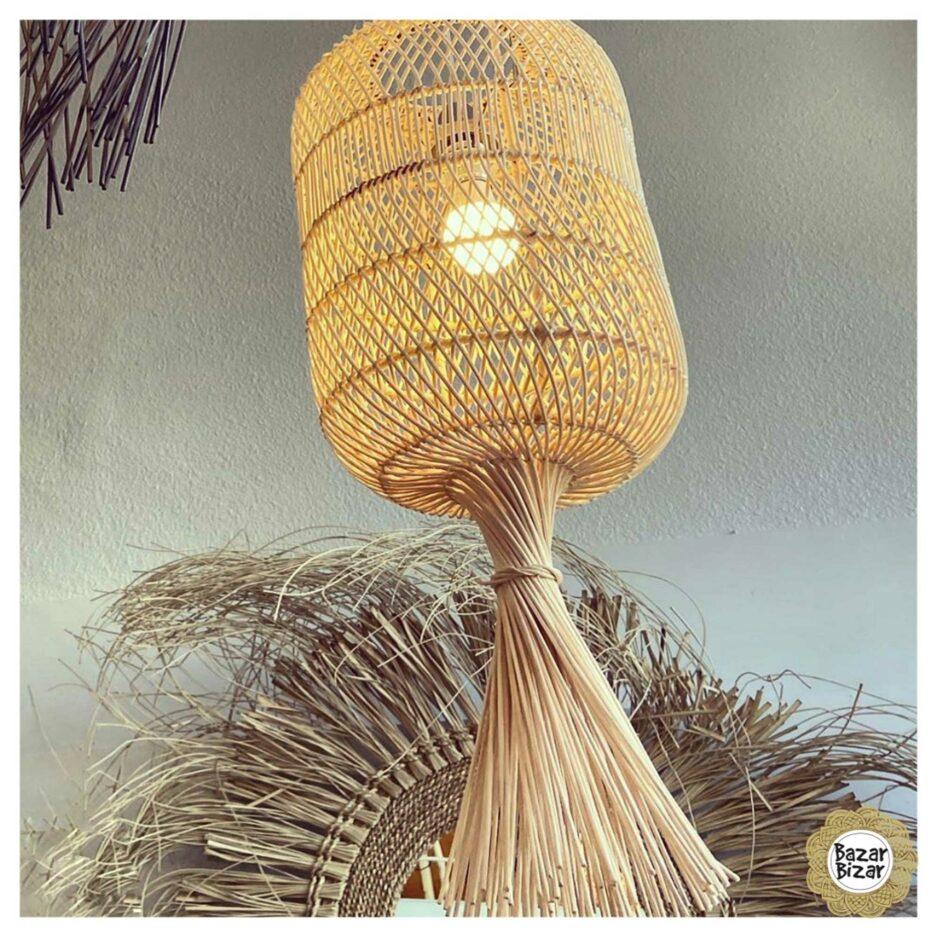 Boho Lampenschirm aus Rattan | Dumpling Lampe Bazar Bizar Lampen im Boho Stil als Dekoration oder Hängelampe oder Stehlampe im Soulbirdee Onlineshop