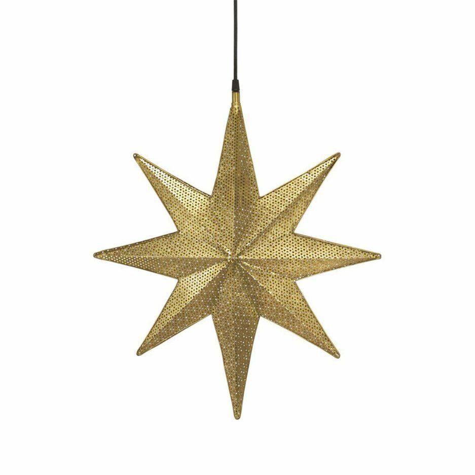 Stern Lampe in Gold als Hängelampe, Metall Stern aus Schweden als hängende Beleuchtung im Wohnzimmer