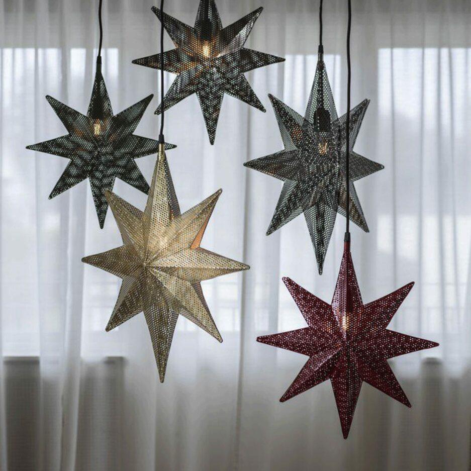 Stern Lampe als Hängelampe, Metall Stern aus Schweden als hängende Beleuchtung im Wohnzimmer