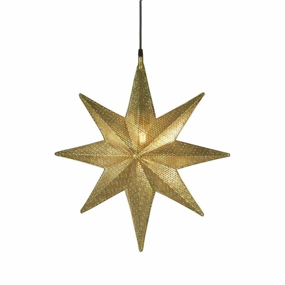 Stern Lampe in Gold als Hängelampe, Metall Stern aus Schweden als hängende Beleuchtung für Weihnachten