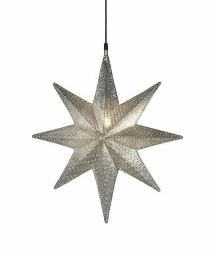Stern Lampe in Silber als Hängelampe, Metall Stern aus Schweden als hängende Beleuchtung für Weihnachten