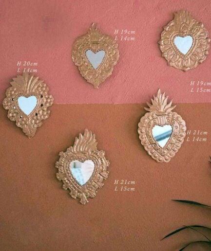 Milagros Kupfer Herz | Ornament Spiegel Herz aus Mexico als Wanddeko im Bohemian Style ♥ Boho Deko online kaufen ♥ Soulbirdee Onlineshop