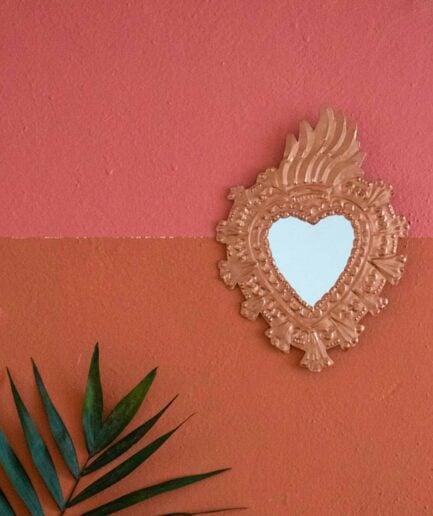 Milagros flammendes Herz | Deko Spiegel Herz als Wanddeko im Bohemian Style ♥ Boho Deko online kaufen ♥ Soulbirdee Onlineshop