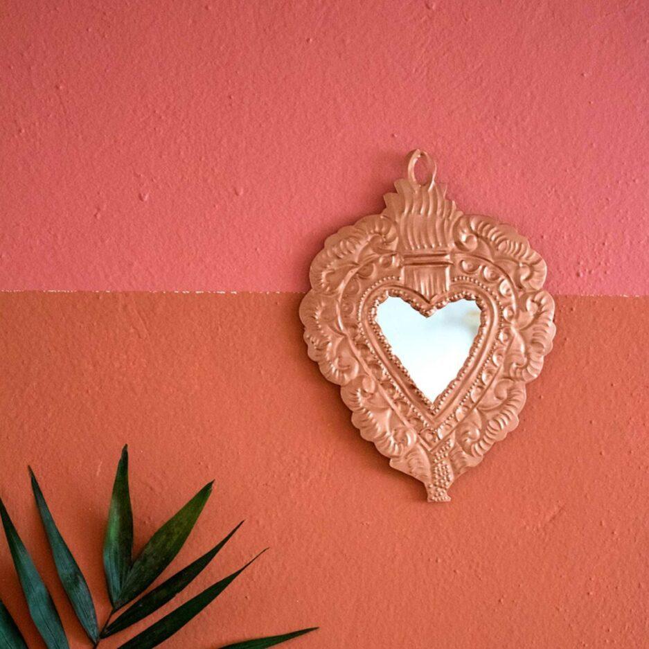 PINK Herz Wanddeko | Deko Spiegel Herz als Wanddeko im Bohemian Style ♥ Boho Deko online kaufen ♥ Soulbirdee Onlineshop