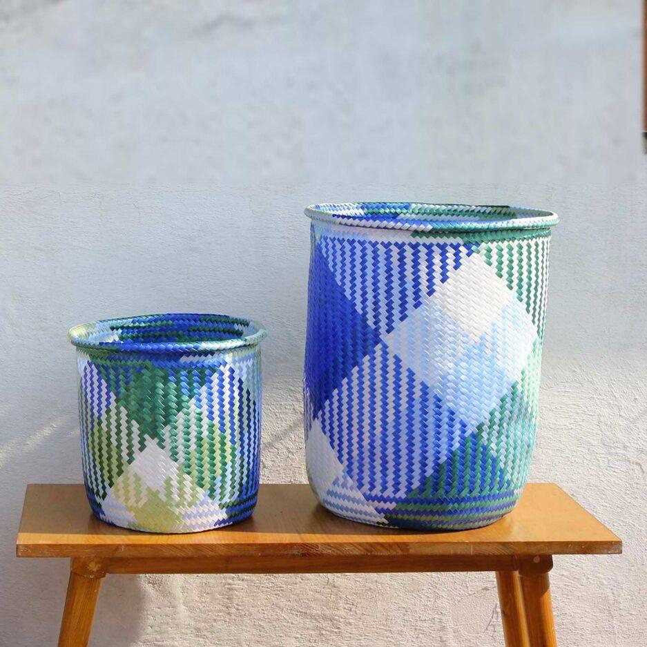 Mimbres Mixtecos Korb in Blau | Geflochtener Übertopf für eine Pflanze ♥ Ethno Deko Korb aus Mexiko ♥ Boho Deko Korb ♥ Soulbirdee Onlineshop