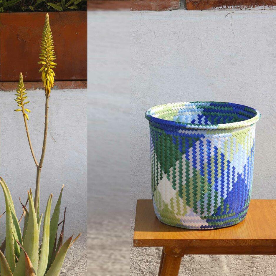 Ethno Korb in Blau | Blauer Karo Übertopf für eine Pflanze ♥ Ethno Deko Korb aus Mexiko