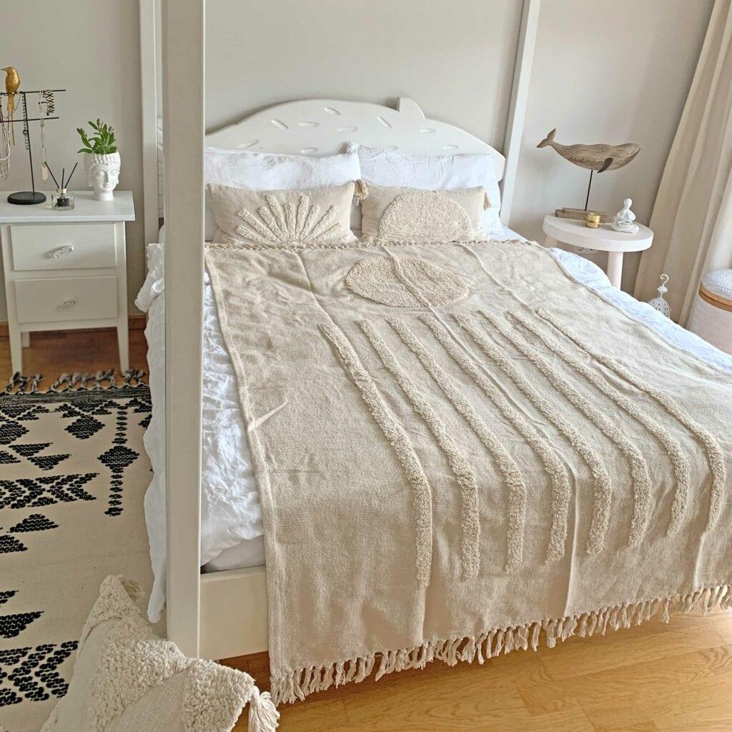 Tagesdecke Baumwolle mit Fransen und Kuschel Motiv Sun, Soulbirdee Onlineshop Wohndeko
