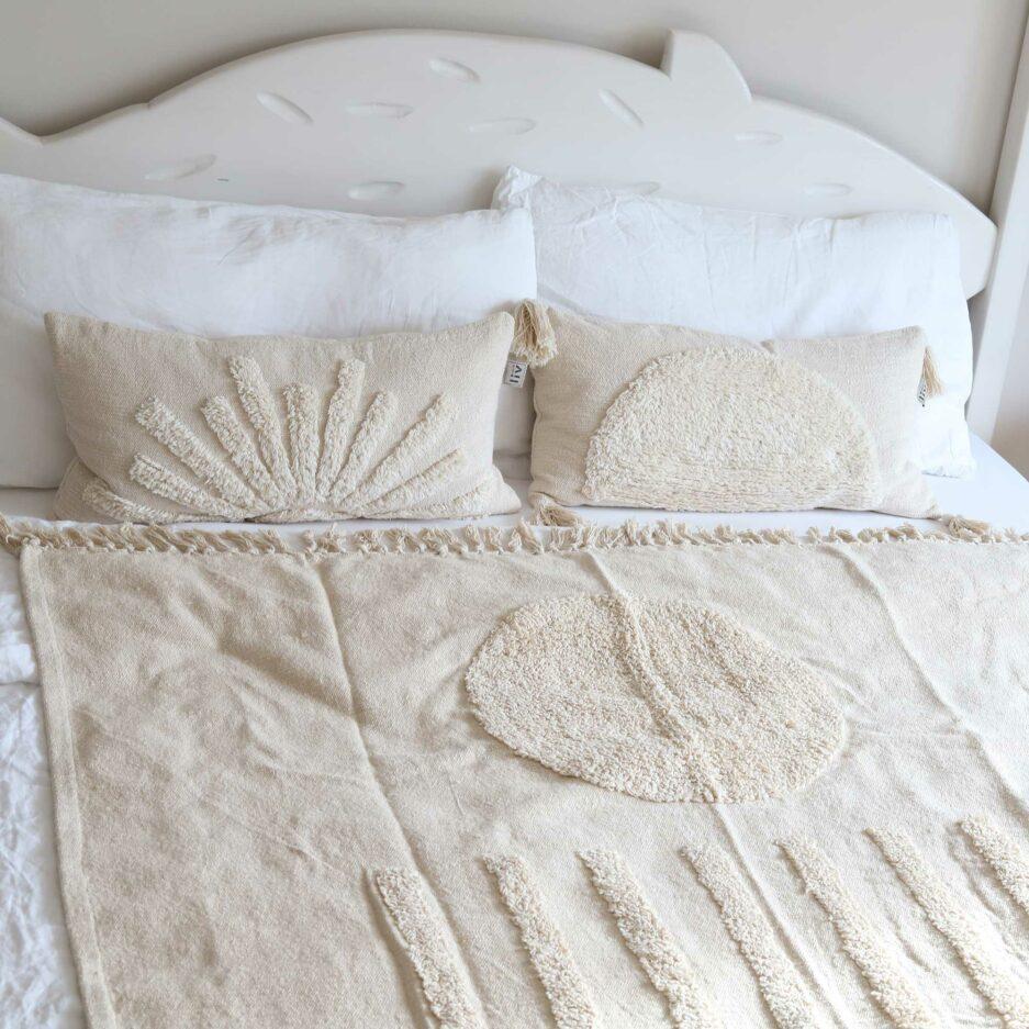 Tagesdecke für das Bett im Schlafzimmer, Beige Baumwolldecke Liv Interior Sun