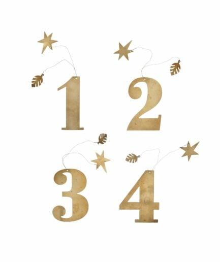 Goldene Ziffern ♥ Adventsdeko Zahlen 1+2+3+4 ♥ Bungalow DK Weihnachtsdekoration aus Skandinavien ♥ Weihnachtsdeko Onlineshop Soulbirdee
