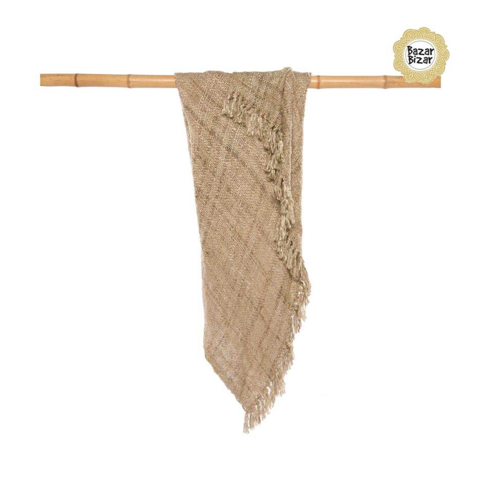 """Wohndecke """"The s'il vous Plaid"""", Wohndecke mit Fransen in der Farbe CREAM ♥ Textilien von Bazar Bizar kaufen bei Soulbirdee Onlineshop"""