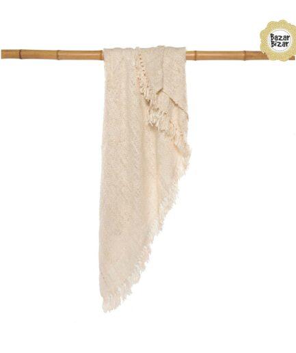 """Weiche Decke """"The s'il vous Plaid"""", Wohndecke mit Fransen in der Farbe CREAM ♥ Textilien von Bazar Bizar kaufen bei Soulbirdee Onlineshop"""
