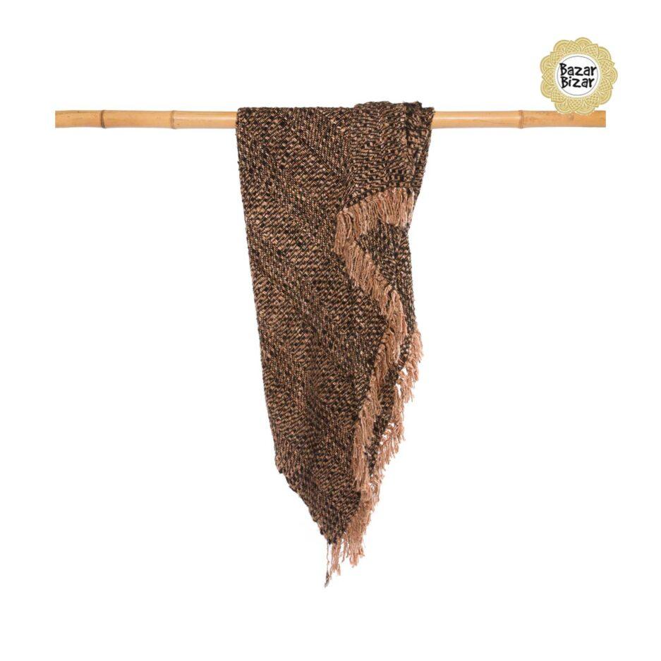 """Weiche Decke """"The s'il vous Plaid"""", Wohndecke mit Fransen in Kupfer & Schwarz ♥ Textilien von Bazar Bizar kaufen bei Soulbirdee Onlineshop"""