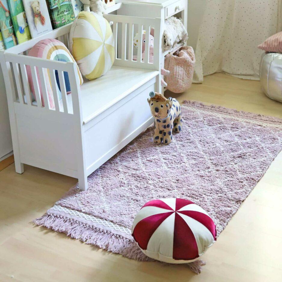 Berber Teppich fürs Kinderzimmer ♥ Weicher, waschbarer Teppich aus Bio-Baumwolle ♥ Liv Interior Beni Ourain Teppich mit Fransen