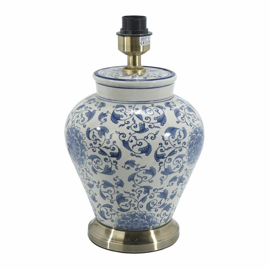 Keramikleuchte in Blau und Weiß im Hamptons Stil von der Marke PR Home. Tischlampe aus Porzellan im chinesischen Wohnstil für das Schlafzimmer
