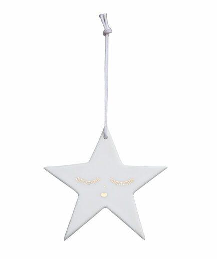 Dekoanhänger aus Porzellan mit Stern ♥ Christbaumschmuck