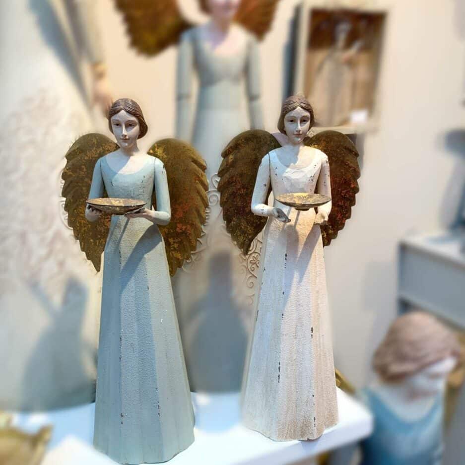 Engel Kerzenhalter mit goldenen Flügeln im Vintage Stil für ein Teelicht ♥ Weihnachtdekoration im romantischen Stil mit Engeln kaufen
