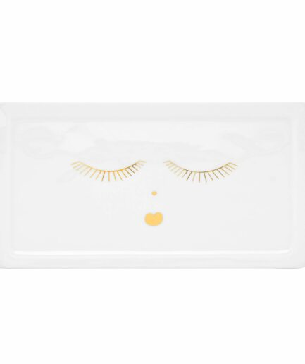 Teller mit Gesicht ♥ Wimpern und Herzchen als Mund ♥ Goldenes Gesicht auf eckigem Teller ♥ Platte aus weißem Porzellan mit Motiv in Gold