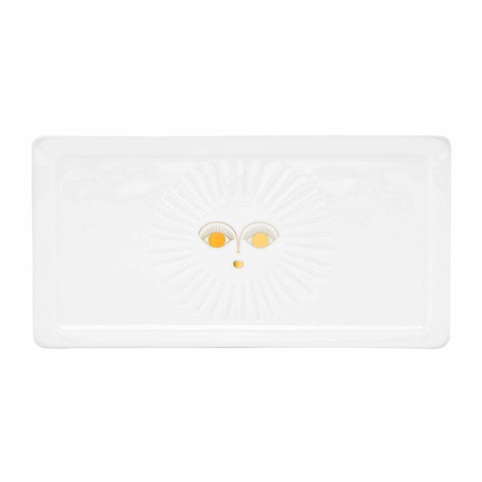 Teller mit Sonne ♥ Eckiger Teller aus weißem Porzellan mit einer goldenen Sonne ♥ Porzellanteller für Kuchen mit einem Sonne Motiv